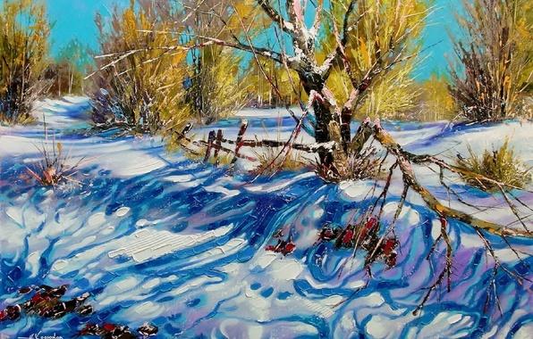 Картинка зима, небо, снег, пейзаж, ветки, природа, картина, день, тени, живопись, Ходюков
