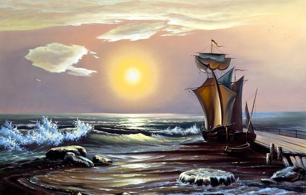 Картинка море, волны, небо, солнце, лодка, корабль, живопись