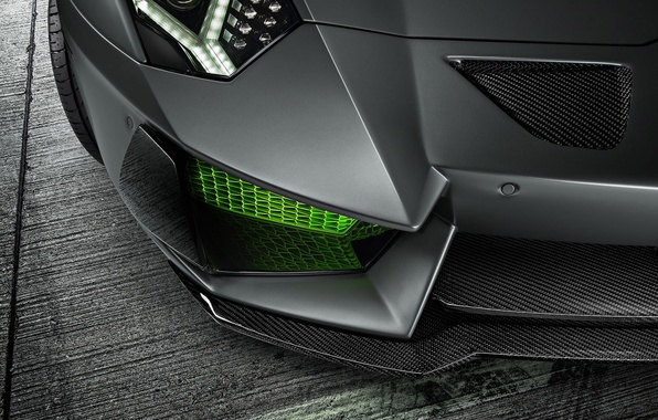 Картинка Lamborghini, Green, Front, LP700-4, Aventador, 2014, Limited, HAMANN, Ligth, Bumper
