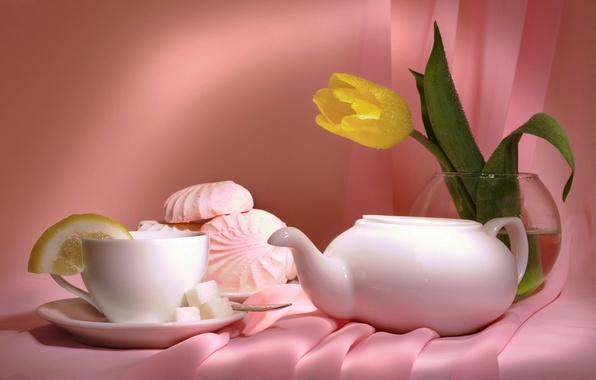 Картинка цветы, чай, тюльпан, ваза, натюрморт, зефир