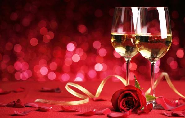Картинка романтика, роза, бокалы, flowers, romantic, Valentine`s day, день Святого Валентина