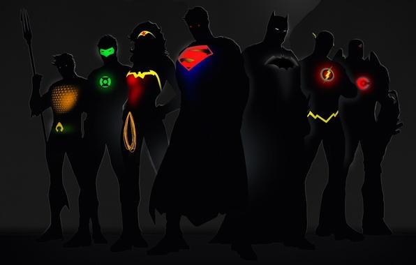 Картинка свечение, Wonder Woman, Batman, Green Lantern, Superman, супергерои, DC Comics, Cyborg, Flash, Aquaman