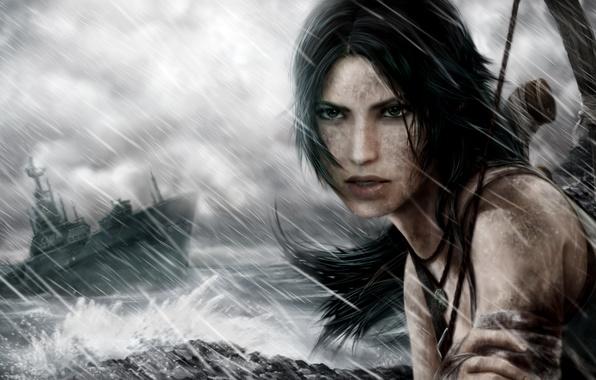 Картинка море, волны, небо, глаза, взгляд, девушка, шторм, лицо, оружие, волосы, игра, корабль, рука, лук, Tomb …