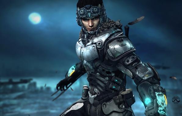 Картинка взгляд, солдат, костюм, шлем, броня, chio, ninox