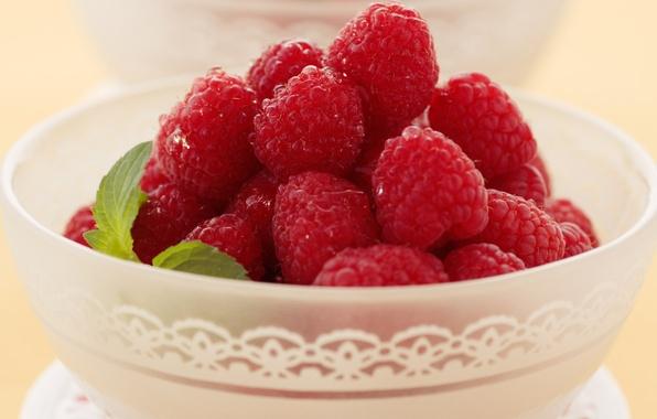 Картинка ягоды, малина, листок, еда, тарелка, чашка