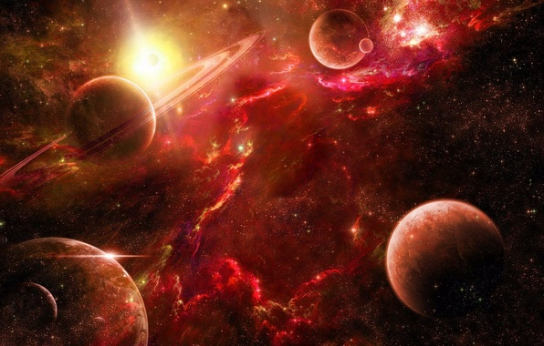 Картинка космос, звезды, туманность, планеты, space, красные, red, nebula, stars, planet
