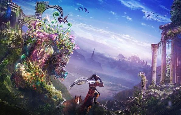 Картинка пейзаж, птицы, город, озеро, монстр, растения, колибри, арт, лис, руины, парень, фантастический мир, Zahid Raza ...