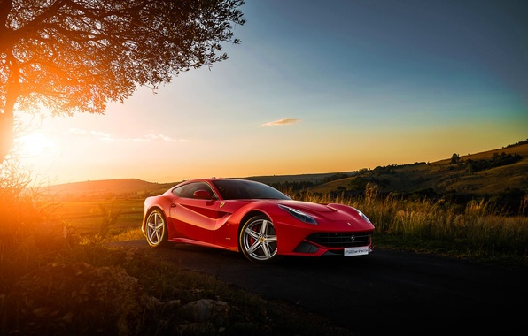 Картинка Ferrari, Red, Sky, Front, Sunset, Africa, South, Supercar, Berlinetta, F12, Ligth