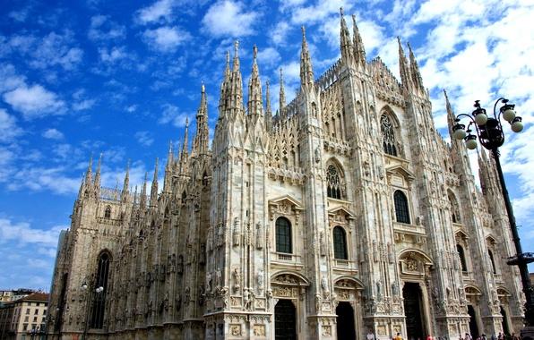 Картинка небо, облака, Италия, собор, Милан, Дуомо