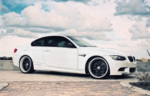 Картинка белый, небо, облака, бмв, BMW, white, E92
