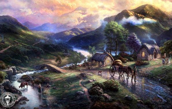 Картинка животные, горы, мост, природа, озеро, река, дома, деревня, живопись, river, animals, nature, bridge, art, dog, …