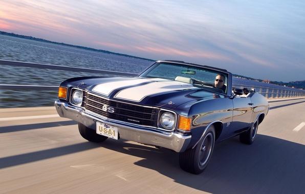 Картинка дорога, car, авто, скорость, Chevrolet, road, 454, speed, Chevelle, Convertible, 1972, Malibu