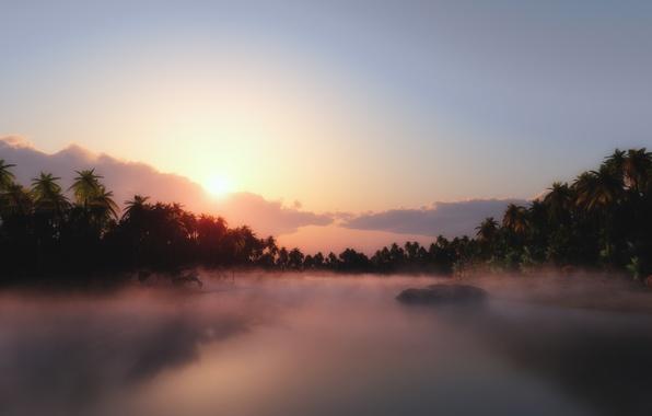 Картинка тропики, река, пальмы, джунгли, дымка
