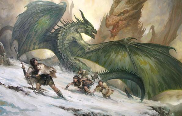 Картинка снег, горы, люди, девушки, скалы, собака, драконы, арт, битва, дикари, LucasGraciano