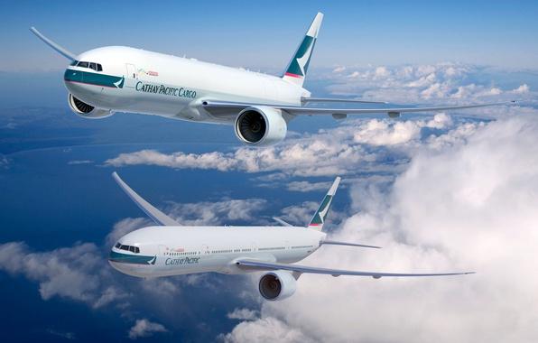 Картинка Небо, Самолет, Boeing, Авиация, 777, В Воздухе, Летит, Cathay Pacific, Грозовой