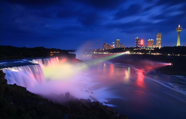 Картинка ночь, город, Канада, Онтарио, USA, Ниагарский водопад, Canada, night, Ontario, Niagara Falls