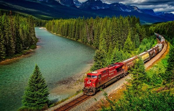 Картинка лес, деревья, горы, природа, река, поезд, Канада, железная дорога, Альберта, Banff National Park, Alberta, Canada, …