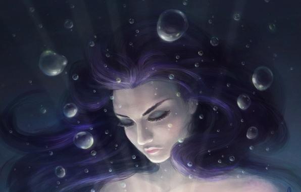 Картинка девушка, пузыри, арт, под водой