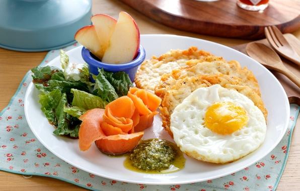 Картинка яйцо, яблоко, завтрак, соус, салат, лосось