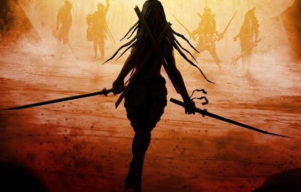 Картинка девушка, оружие, фантастика, спина, мечи, длинные волосы, враги