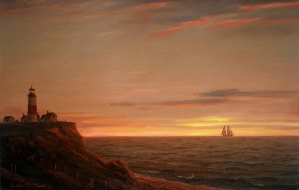 Картинка море, небо, свет, пейзаж, закат, берег, маяк, корабль, парусник, картина, William Davis