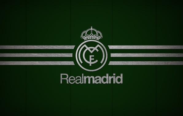 Картинка Dark, logo, emblem, Green, minimalism, texture, background, football, soccer, Spain, football club, los blancos, El …