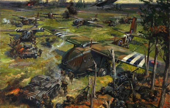 Картинка масло, картина, холст, художник Теренс Кунео, «Операция на побережье»