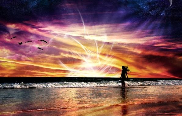 Фото обои красный, яркий, энергия, природа, море, абстракции, волны, полет, девушка, космос, пейзаж, закат