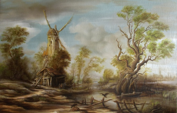 Картинка вода, природа, озеро, дом, дерево, животное, птица, лодка, забор, человек, болото, избушка, картина, арт, мельница, …