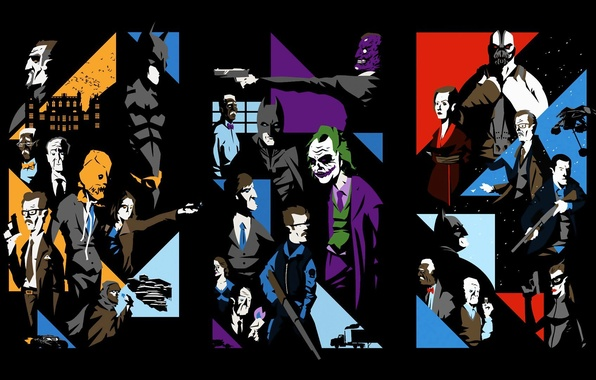 Картинка коллаж, The Dark Knight, персонажи, The Dark Knight Rises, Batman Begins