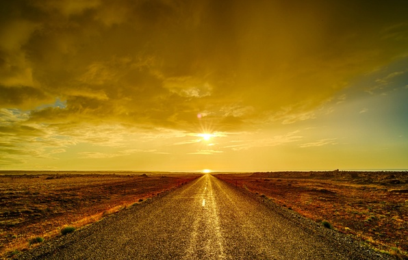 Картинка дорога, небо, облака, закат, пустыня, горизонт