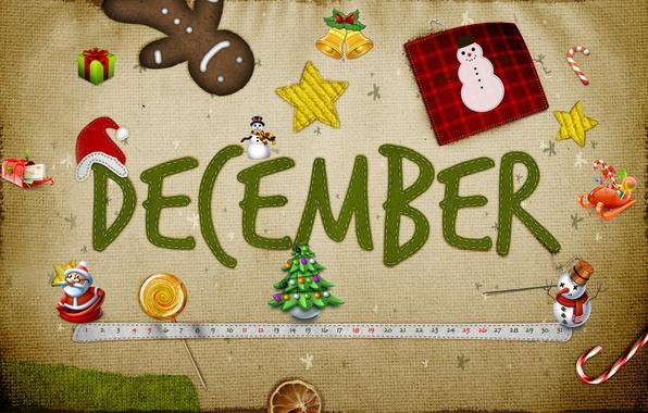 Картинка снег, подарок, звезда, елка, новый год, снеговик, дед мороз, колокольчик, праздники, декабрь, desember