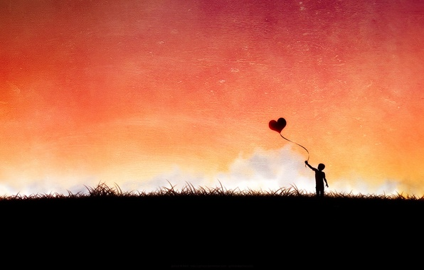 Картинка вектор, Сердце, мальчик