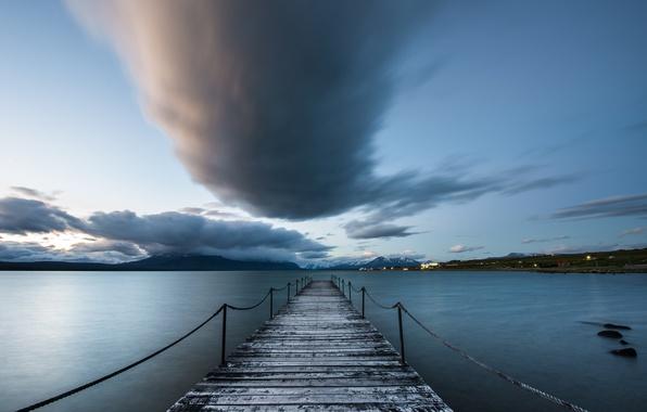 Картинка Chile, nube, muelle, Puerto Natales, patagonia