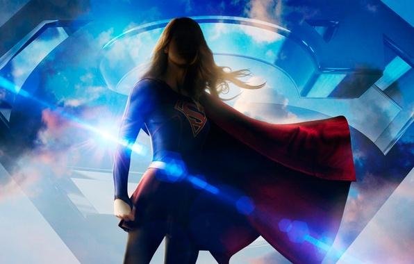 Картинка девушка, фантастика, костюм, сериал, постер, супергерой, DC Comics, Supergirl, 2015, Melissa Benoist, Мелисса Бенойст, Супергёрл