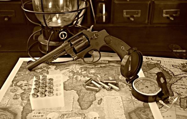 Картинка карта, ствол, пули, револьвер, компас