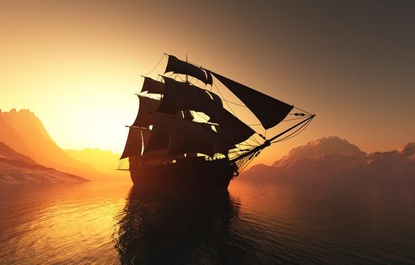 Картинка пейзаж, закат, рендеринг, океан, графика, корабль, паруса, мачты