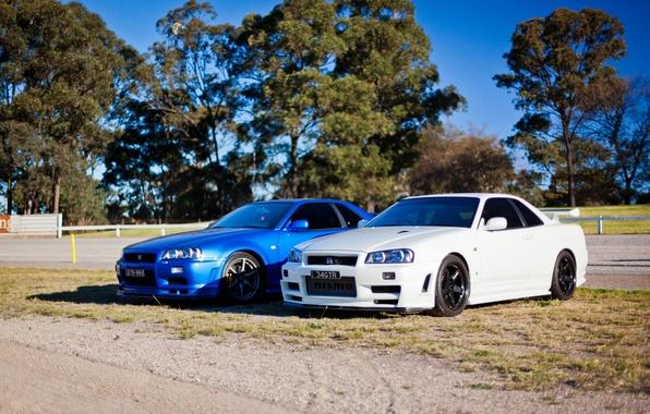 Картинка белый, синий, тюнинг, GT-R, ниссан, Nissan Skyline, R34, скайлайн