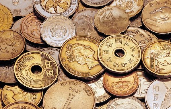 Картинка фон, деньги, иероглифы, монеты, много, азиатские