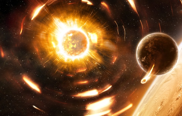 Картинка Планеты, Пламя, Planets, Space, Yellow