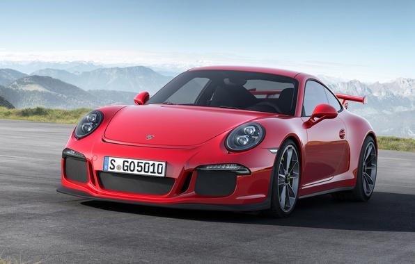 Картинка Красный, 911, Porsche, Red, Порше, Автомобиль, GT3, Спорткар, Sportcar, 2014