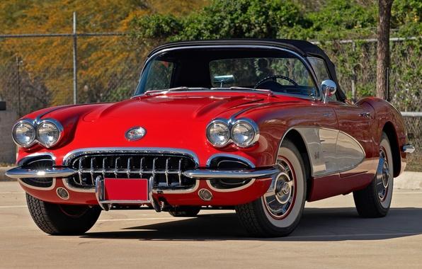 Картинка красный, Corvette, Chevrolet, Шевроле, передок, 1959, Корвет
