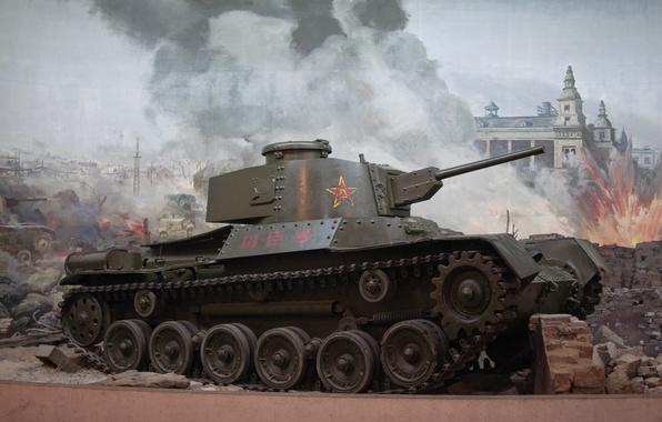 Картинка город, огонь, война, дым, взрывы, развалины, танки, китайские, World of Tanks, легкие, Wargaming.Net, Chi-Ha, Type …