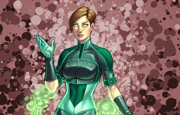 Картинка девушка, green, костюм, art, anne claire