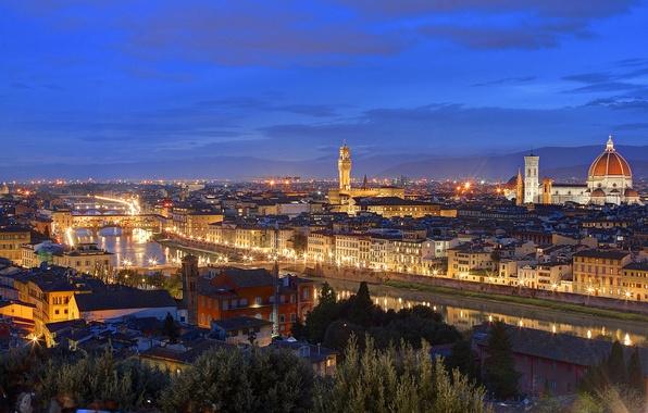 Картинка огни, дома, вечер, крыши, Италия, Флоренция, сумерки, Тоскана