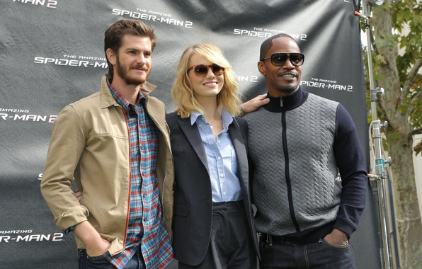 Картинка Emma Stone, Andrew Garfield, Jamie Foxx, The Amazing Spider-Man 2, Новый Человек-Паук 2