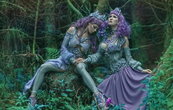 Картинка фантазия, арт, две девушки, Ophelia Overdose, Agnieszka Lorek, Ryo Love, Lavender love