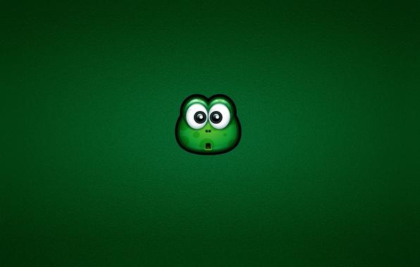 Картинка взгляд, green, лягушка, удивление, минимализм, зеленая