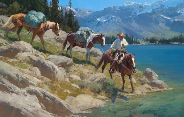 Картинка небо, деревья, пейзаж, горы, озеро, лошади, ковбой, Anton Bill