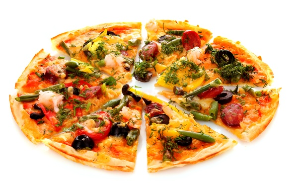 Картинка зелень, сыр, лук, укроп, пицца, помидор, оливки, колбаса, маслины, болгарский перец, cheese, стручки, greens, tomato, …